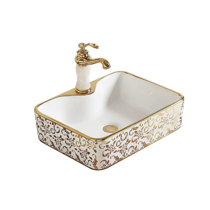 Gold Round Bathroom Sink Modern Ceramic Washbasin Vessel