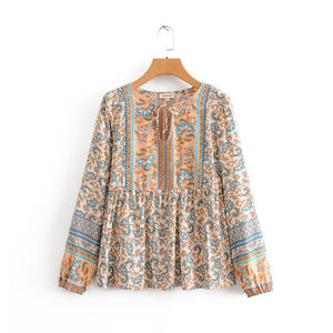 Lace up collar long sleeve rayon tops women bohemian style fashion clothes