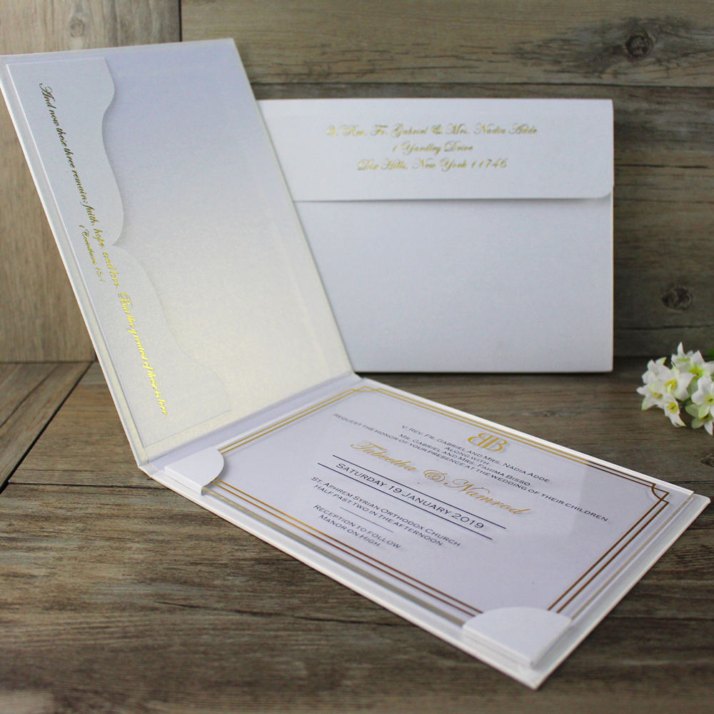 2019 Luxury Custom Clear Acrylic Invitations with box