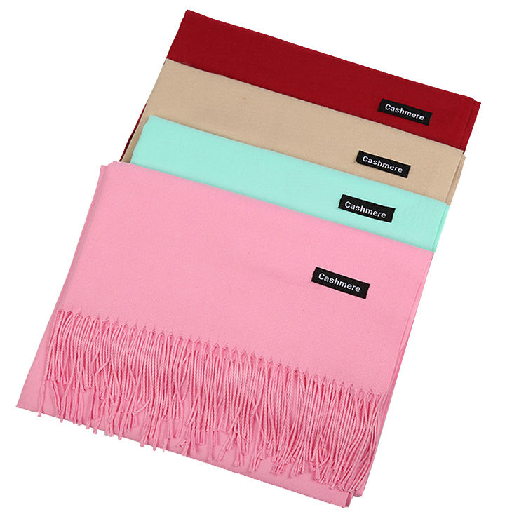 Fashion Winter Soft Pashmina Scarf Ladies Scarves Shawls Stylish Warm Wholesale Custom Plain Tassel Cashmere Scarf Women
