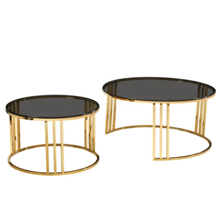 Modern luxury gold stainless steel black tempered glass round living room nesting coffee table