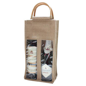 Best selling environmentally friendly cotton and linen wine gift jute tote bag