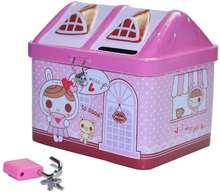 Promotional gift tin house shape money saving box with lock, home decoration cartoon piggy bank for children