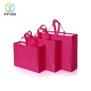 New Type Custom Print Reusable Pink Non Woven Shopping Bag