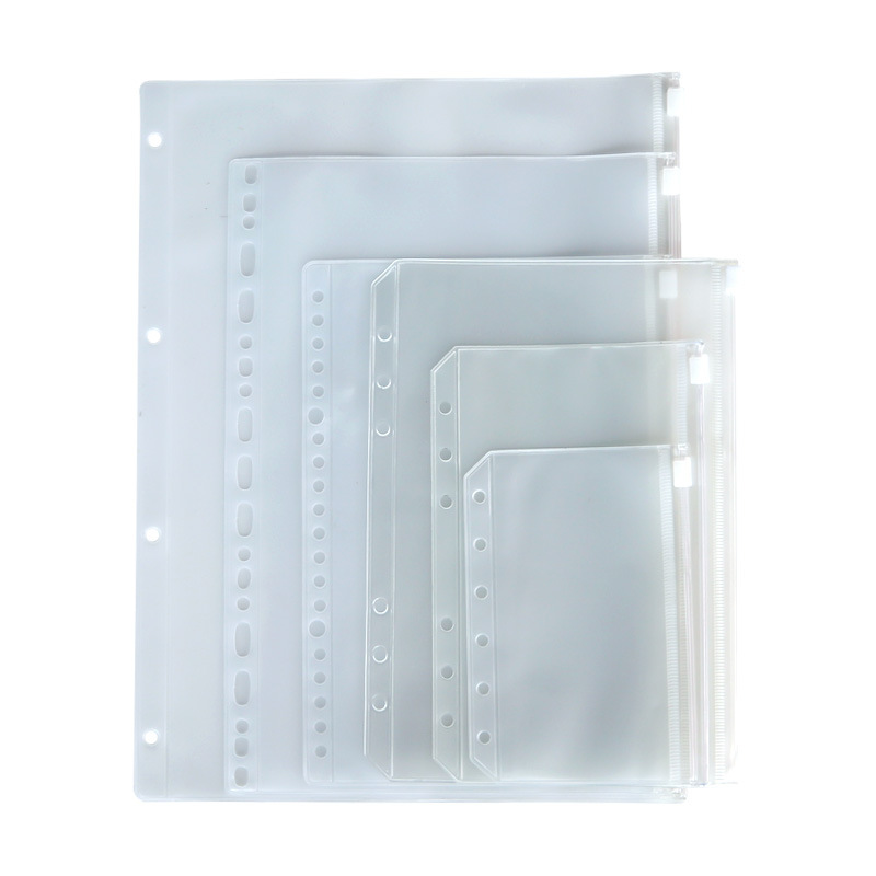 Plastic A4 A5 A6 A7 File Holders Sheet 6 Holes Transparent PVC Filing Binder Folder Loose Leaf Pouch with Zipper Lock