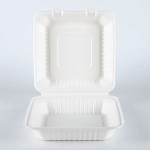8 inches disposable Sugarcane Bagasse fiber paper clamshell food packaging box