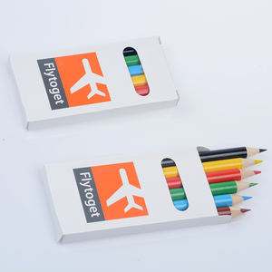 Packing Custom 6pc Wooden Mini Promotional Color Pencil Set for Kids