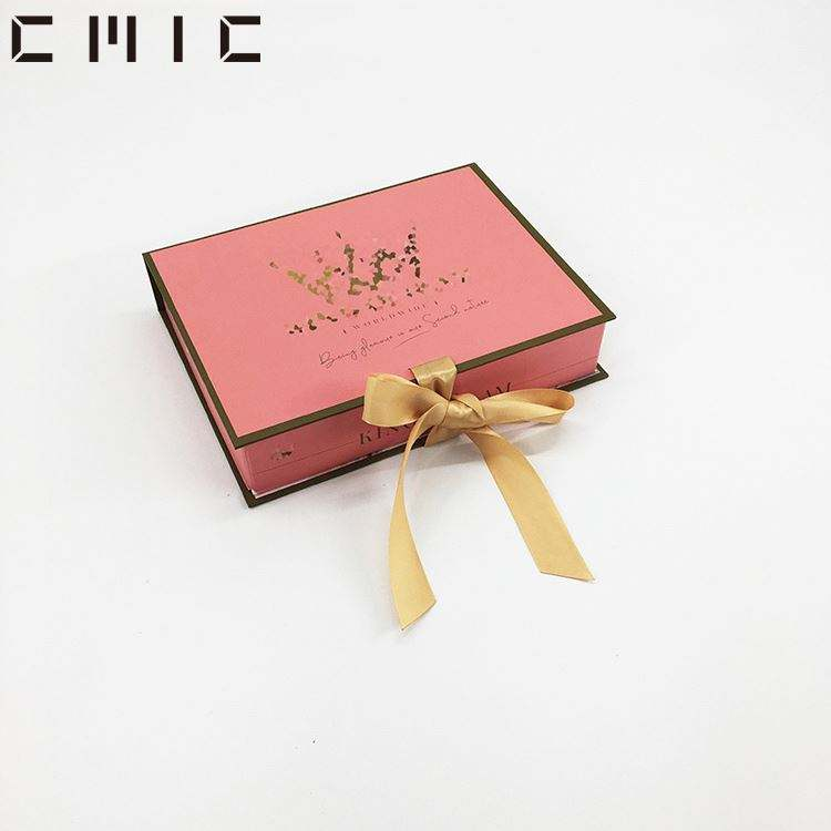 Custom Premium Ribbon Closure Flip Open Cardboard White Gift Box With Gold Foil Logo Rigid Printed Packaging With Ribbon Puller