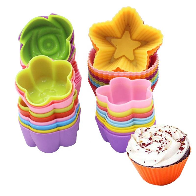 New 1 pcs Silicone Cake Cupcake Cup Cake Tool Bakeware Baking Silicone Mold Cupcake and Muffin Cupcake for DIY by Random Color