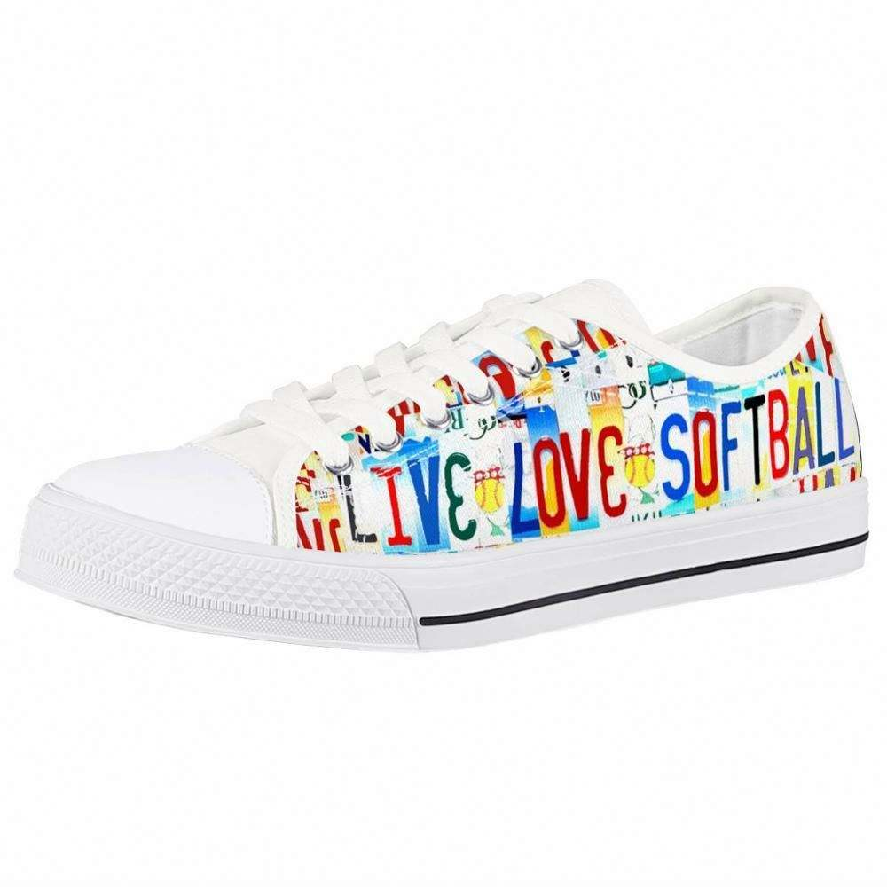 Print on Demand Custom Colorful Live Love Softball Printing Flat Heel Low Cut Outdoor Leisure Women Canvas Shoes