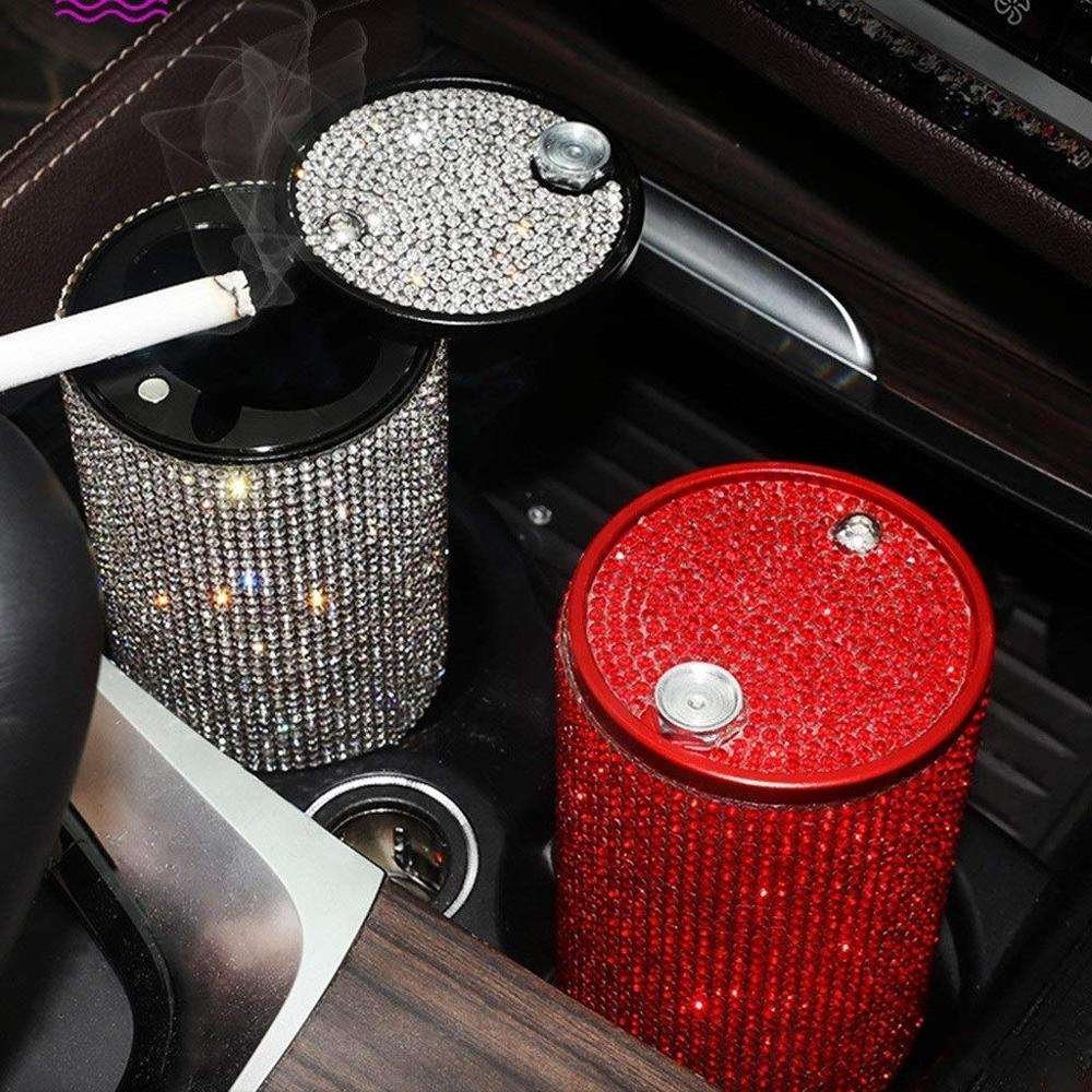 Rhinestone Car Ashtray With Multi-Function Personality Covered Interior Car Accessories