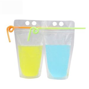 Reusable Transparent Plastic Stand Up Ziplock Cocktail Juice Beverage Drink Packaging Pouches Bag