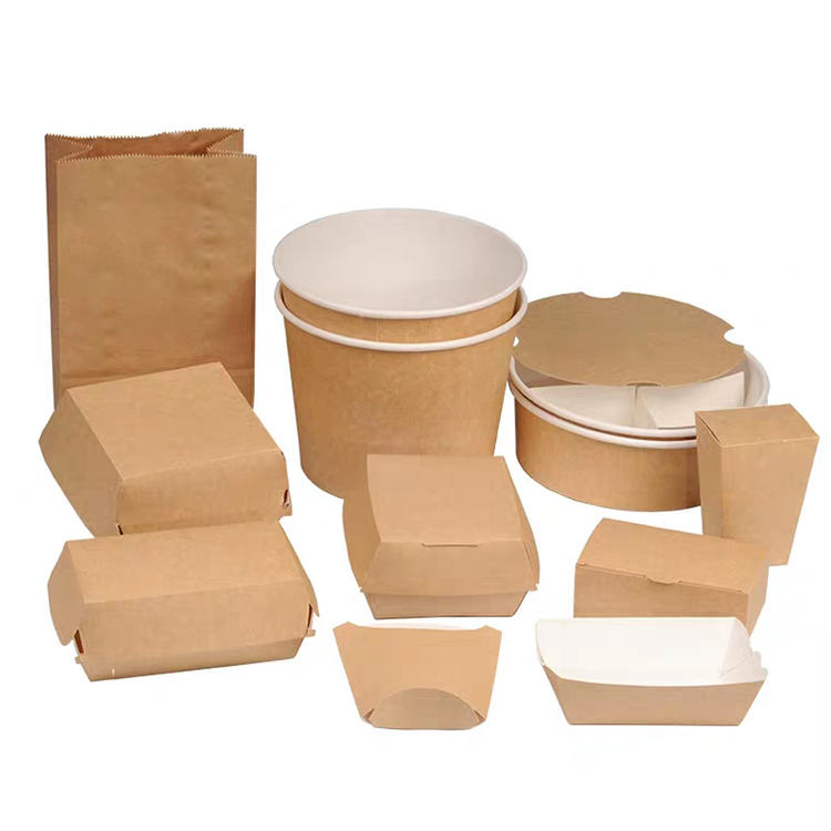 Hot custom eco printing friendly grade delivery takeaway biodegradable frozen fast container cardboard disposable food packaging
