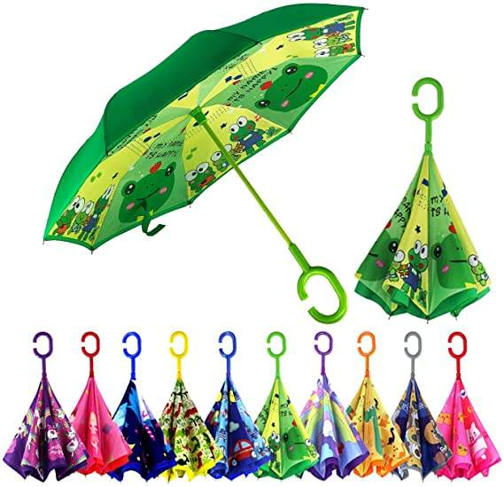 Cartoon Inverted Reverse Kids Umbrella Boys Girls Double Layer Windproof Upside Down Umbrellas for Age 4-13 Kids
