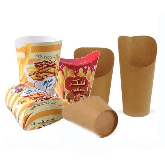 take away paper chips cup 16oz customized french fry scoop paper cup foldable french fries cone cup kraft brown chip scoop