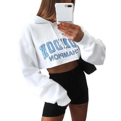 Women's Letter Print Long Sleeve Casual Hooded Sweatshirts Slim Short Navel Sweatshirt Crop Top Hoodie for women