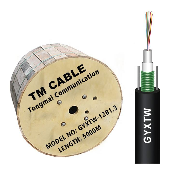 Outdoor Optical Fiber Cable GYXTW 12 core Single Mode Fiber Optic Cable G652D