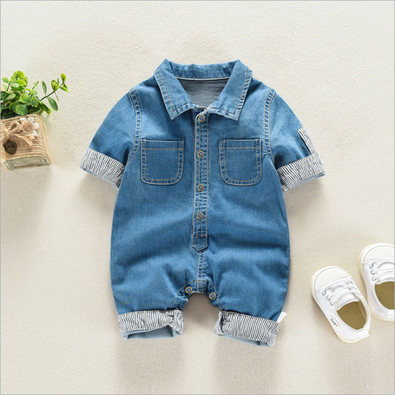 boy clothes romper wholesale cheap cotton baby denim romper