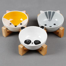 Wholesale Japan Style Printed White Custom Marble Ceramic Cat Pet Dog Bowl