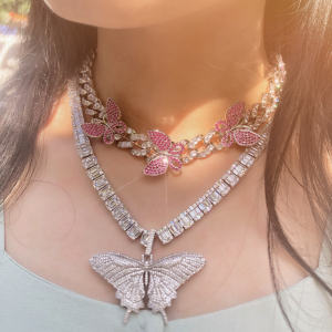 Hot sale Luxury women iced out jewelry diamond cuban link chain butterfly necklace