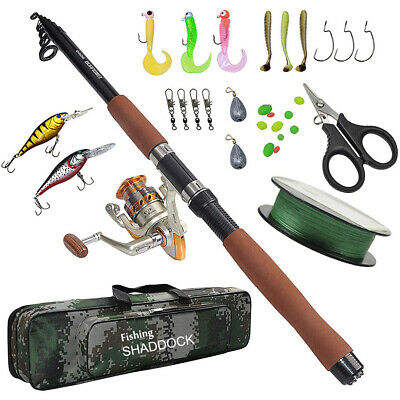 Fishing Rod Combo And Reel Full Kit Fishing Pole Set Spinning Fishing Reel Line Lures Hooks Swivels Sinkers Beads