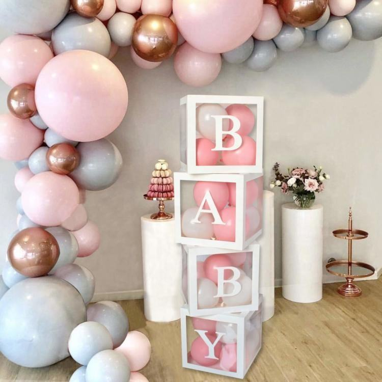Baby Shower Boxes Party Decorations 4 pcs Transparent Balloons Decor Boxes with Letter for Baby Shower Decorations