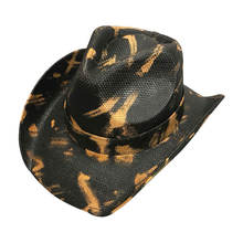High Quality Spray Black Rocker Bands Dallas Western Straw Hard Hat Cowboy for Men