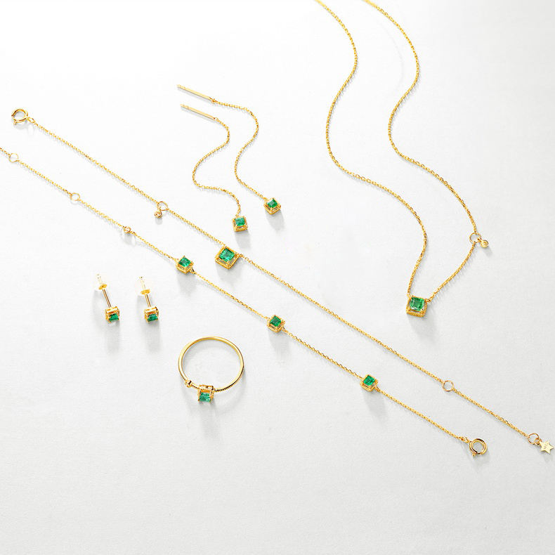 Wholesale dainty women 925 sterling silver gold plating green zircon 6 pieces jewelry set