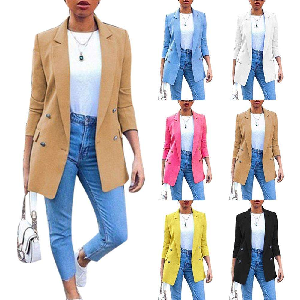 8 colors S-5XL Women Spring Autumn Jacket Coat Slim Fitted Long Sleeve Casual Blazer For Women Ladies OL Ladies Suit