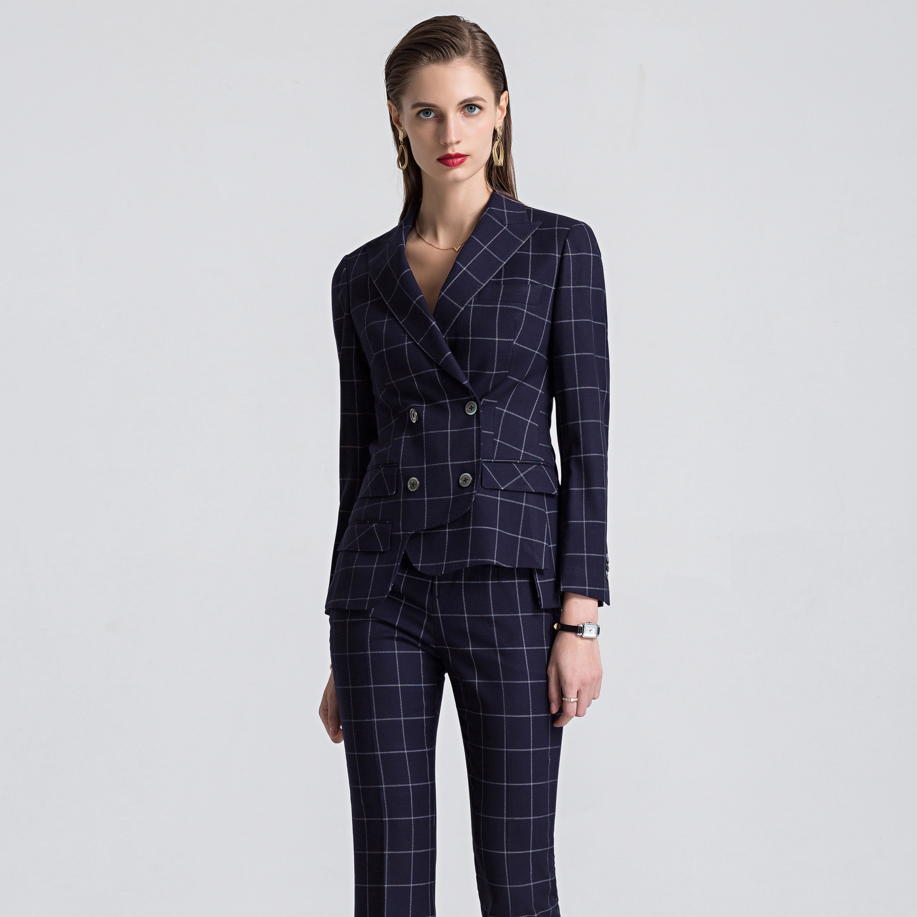 High quality Plaid Pattern type Double Breasted Dark blue color pants suit