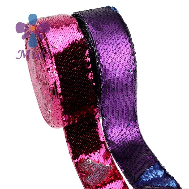 75mm Two Colors Sequin Ribbon Glitter Reversible Ribbon Headwear Material