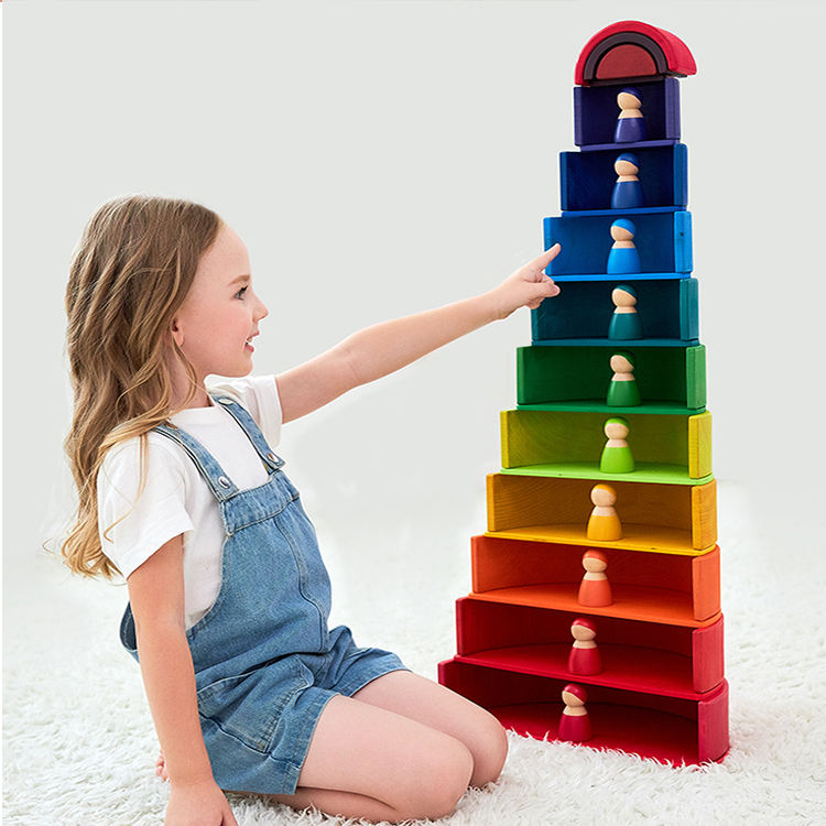 Factory direct sale kids Montessori building toys wholesale boys girl Rainbow custom puzzle series educational toys parts