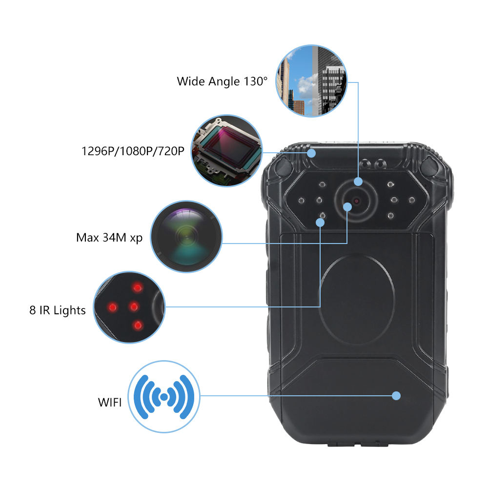 Data File Encryption Body Camera WirelessとWifi APP Operating GPS Positioning Pre/Post Recording Police Video Recorder
