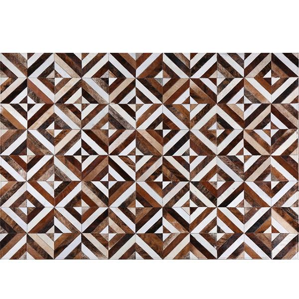 Brown And White Diamond Puzzle Luxurious Countryside Cottage Indoor Coffee Table Cow leather carpet