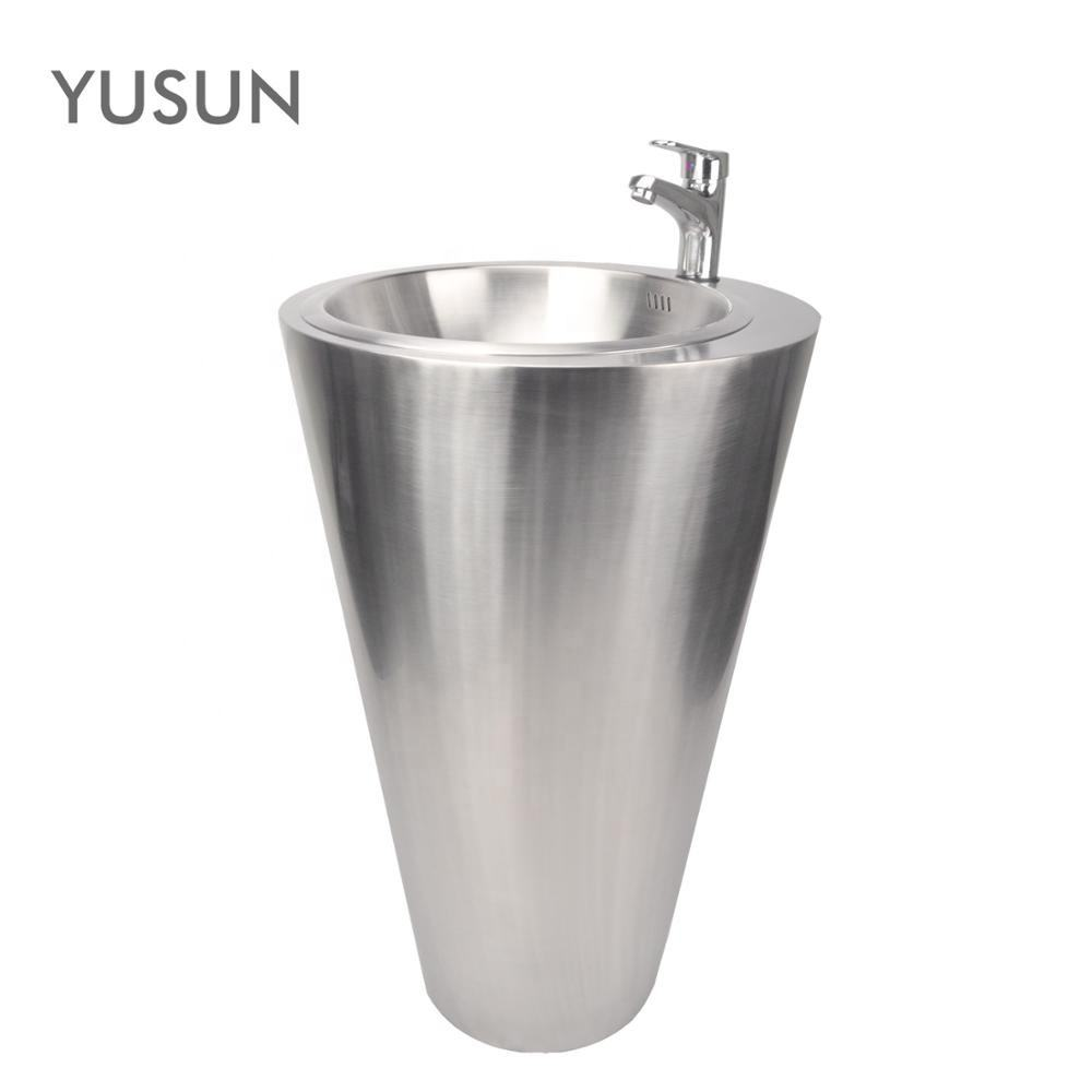 YUSUN Indoor and Outdoor Stainless Steel Pedestal Hand Wash Basin