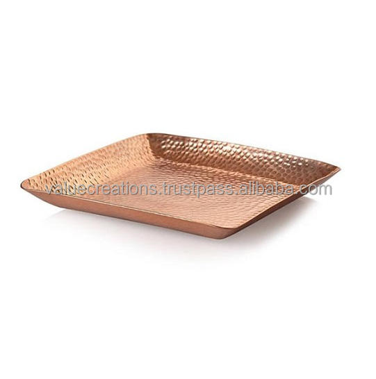 Copper Colour Hammered Square Tray For Centre Table Home decor hand made