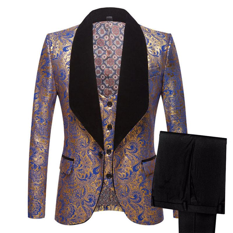 Mens Three-piece Set Wedding Suits Gold Floral Pattern Slim Fit Party Prom Dress Tuxedo Singers Costume Smoking Uomo