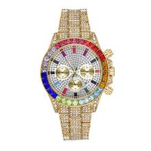 Men Luxuries Full Stone ICED OUT Diamond Watch Colorful Crystal Diamond Watch