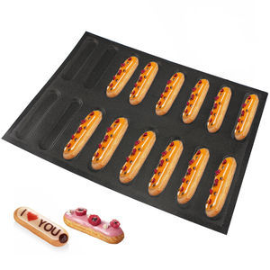 16 Cup Eclair Perforated Silicone Bread Molds Finger Puff Mould Cake Baking Pastry Form