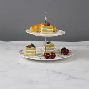 Lexi Volledige Decal Tropische Bone China Dessert Platen Ronde Servies Set Decoratieve Porselein Plaat
