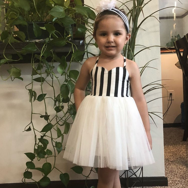 RTS FLODR50 Clearance Girls dresses Striped Sleeveless Halter Wedding Party Birthday Short Tulle Girls Clothes