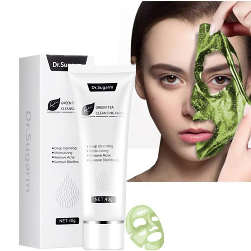 Private label green tea mud peel off face mask for Removing blackheads acne shrink pores control oil deep cleansing soothe skin
