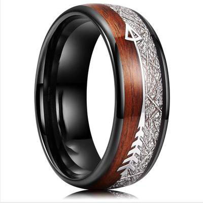 8mm Silver/Black Tungsten Rings for Men Women Wedding Bands Deer Antler Koa Wood Meteorite Opal Turquoise Inlay Comfort Fit