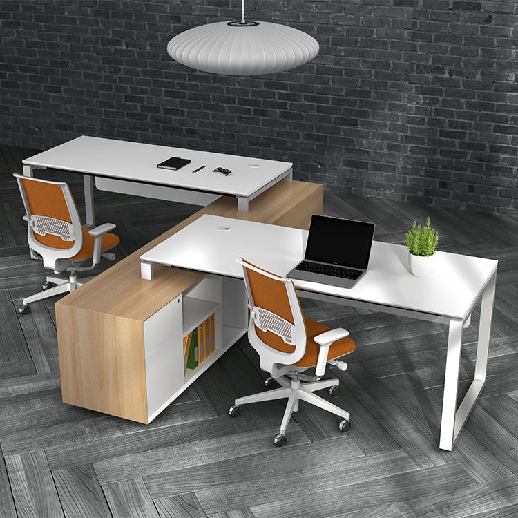 Modern steel office furniture l shaped 2 seat director manager desk