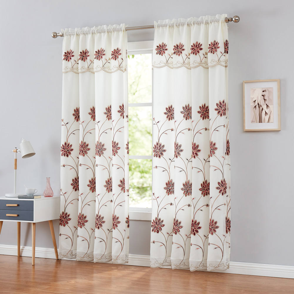 Bay Window Turkish Floral Fabric Material Stock Lot Embroidery Double Curtains With Attached Valance For Living Room Rod Curtain