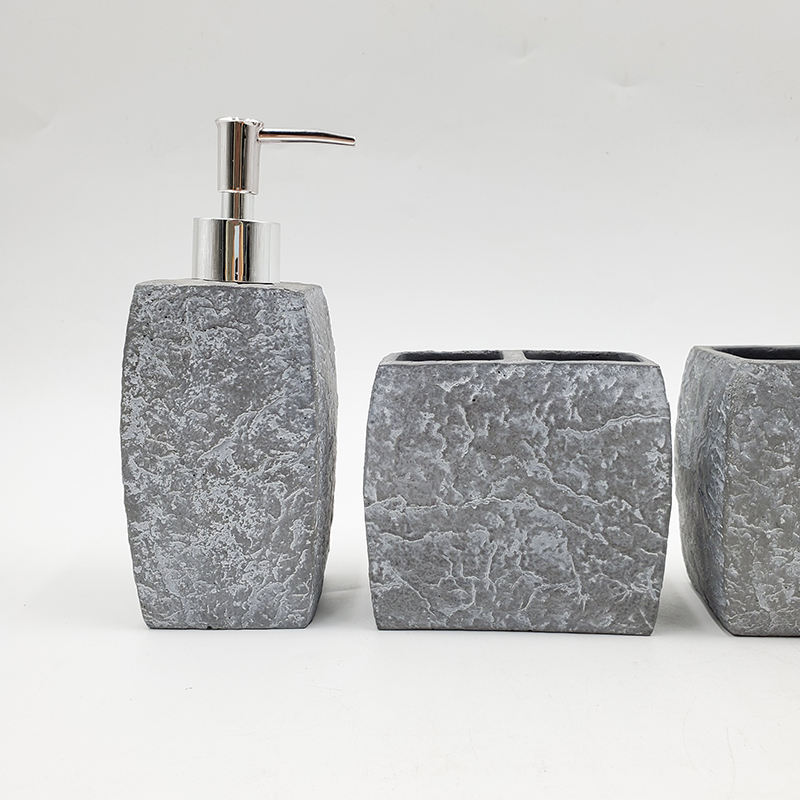 Grey Stone Effect Cement Bathroom Accessories Set Lotion Dispenser Toothbrush Holder Tumbler and Soap Dish 4PCS Set