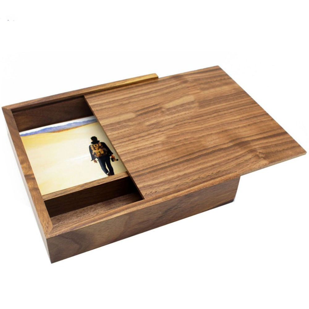 Fashion Walnut Wood Photo Box Unique Album Box Creative DIY Wedding Memory Collection Box