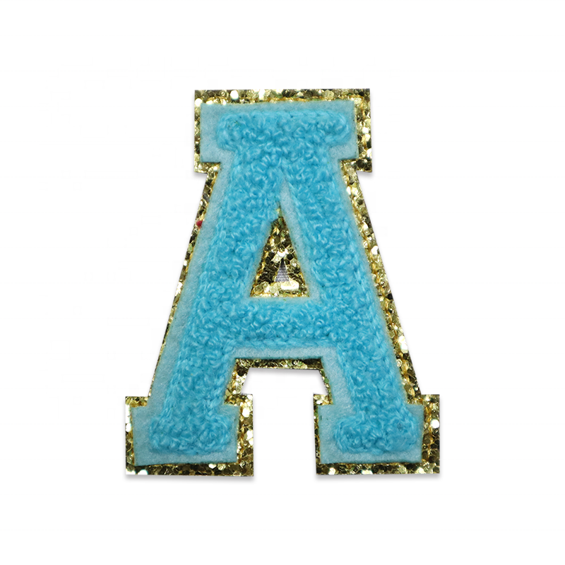 High Quality Personalized Machine Embroidered Iron On Bling Letter Chenille Patches For Dresses