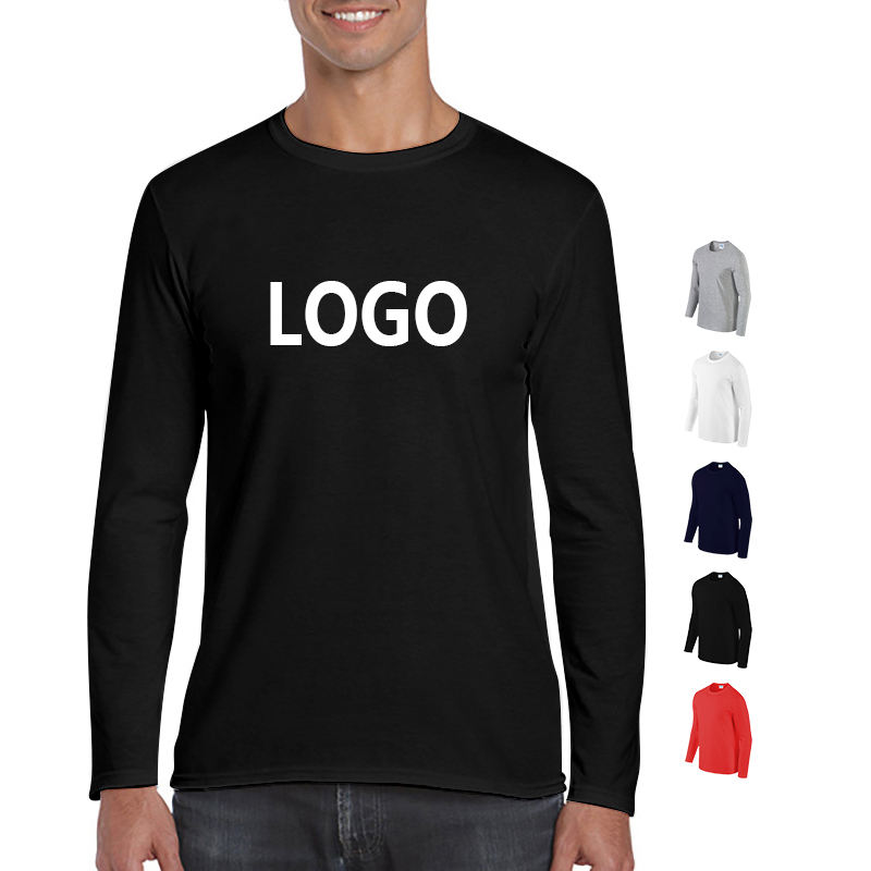 Custom Casual Streetwear Round Neck Printed Black 100% Cotton Blank Men Long Sleeve T Shirts