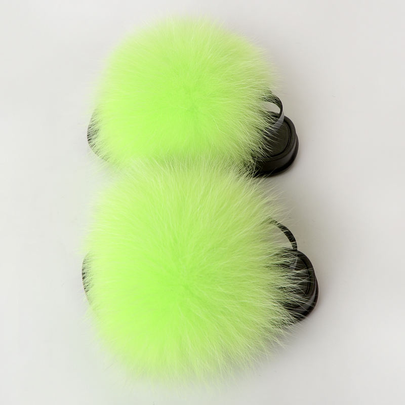 Fashion Real Fur and Faux fur Baby Slides Summer Cute Infant Baby Boys Girls Shoes Soft Sole Indoor slippers